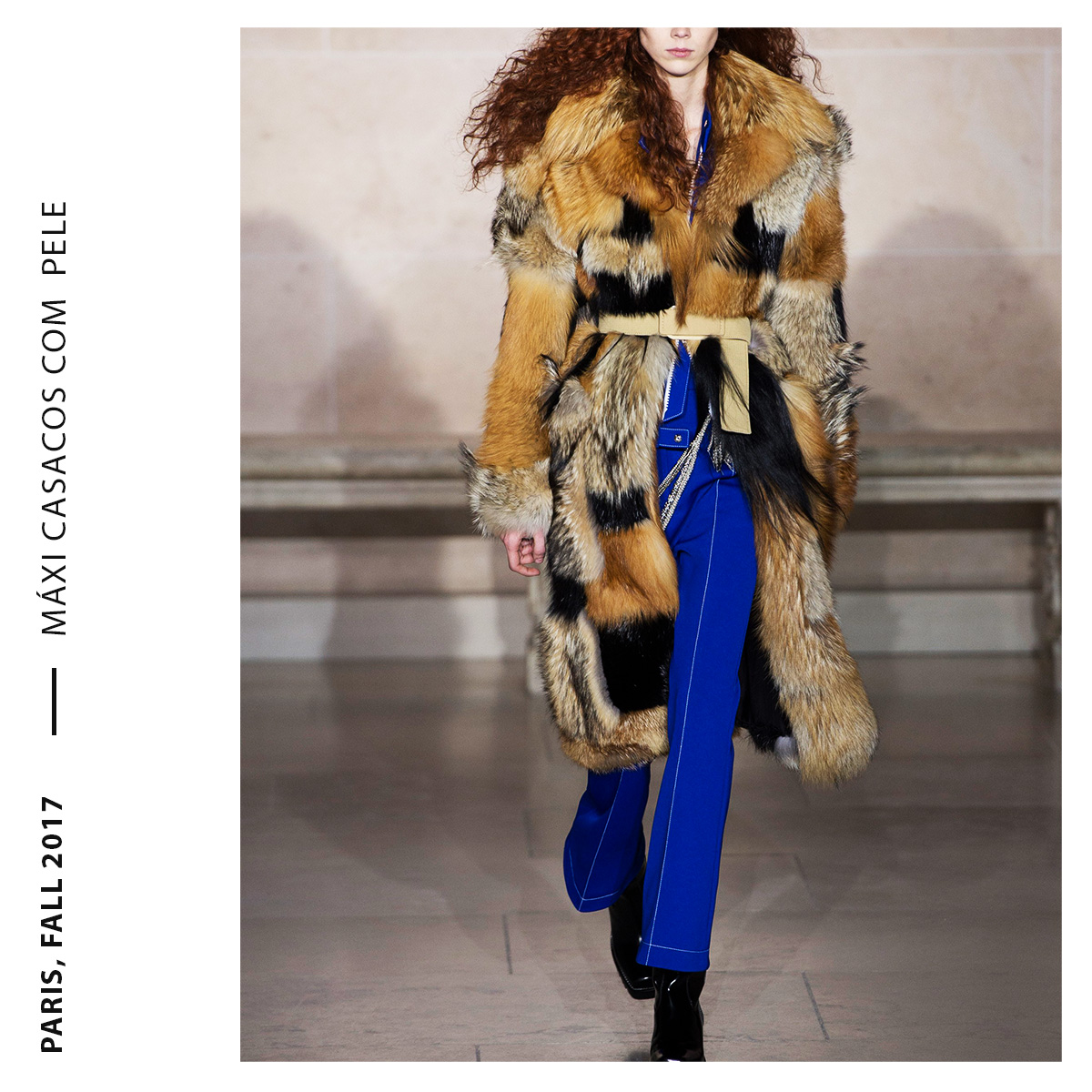 máxi casacos com mesclas de pele