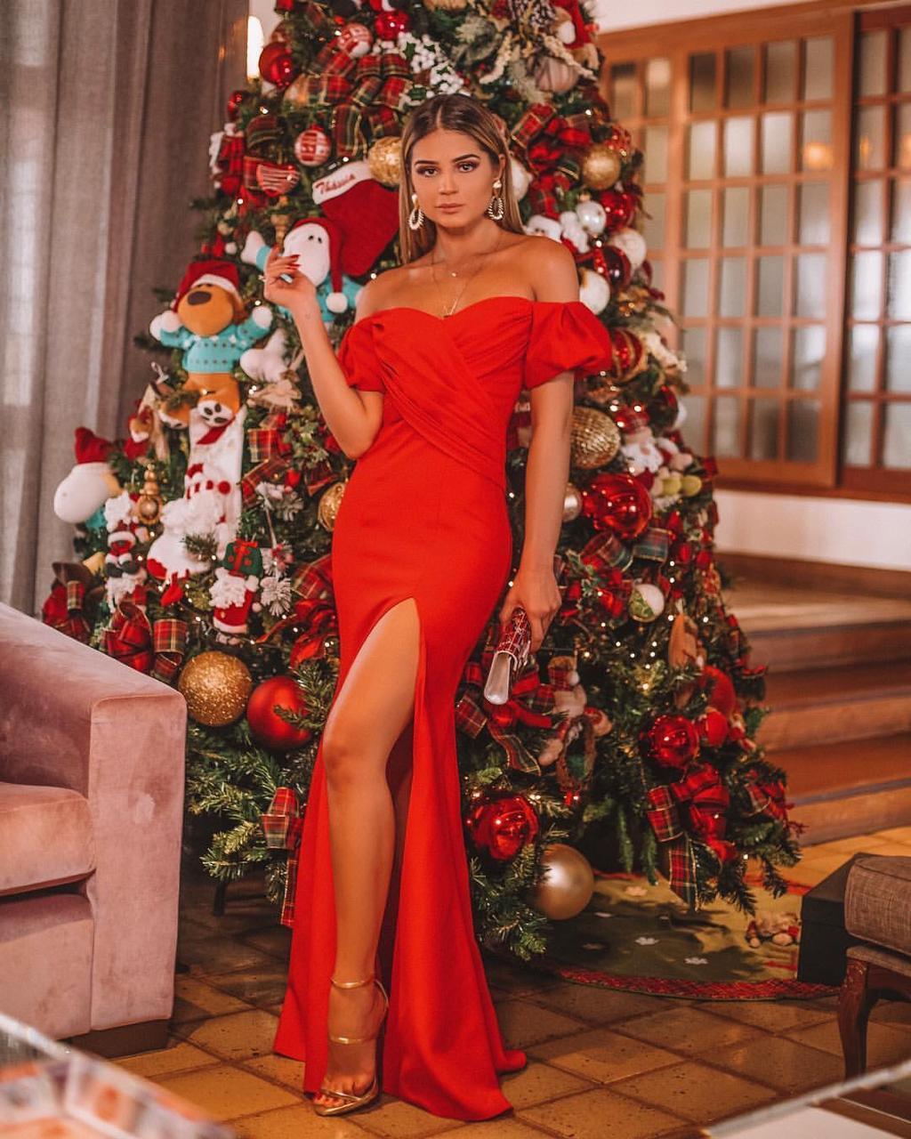 Thássia vestido vermelho skazi 1