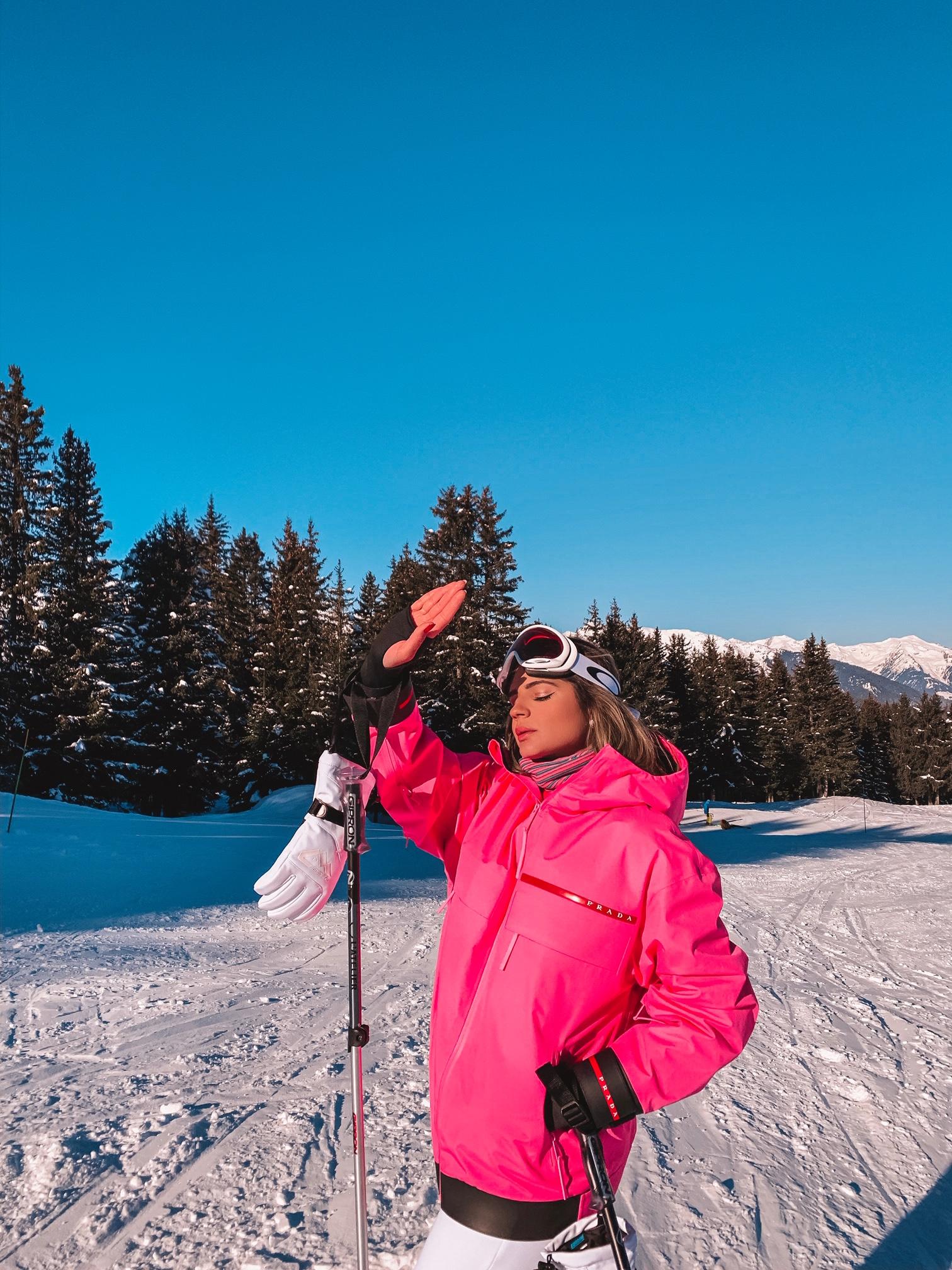 Thássia ski courchevel rosa neon 2
