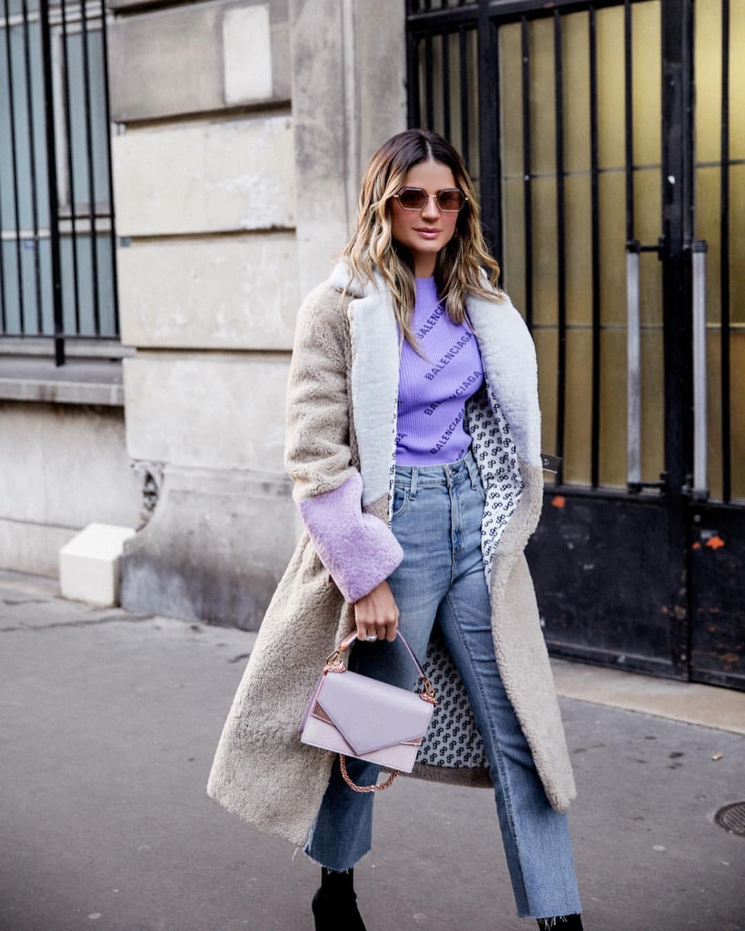 thassia paris neon pastel roxo jeans balenciaga