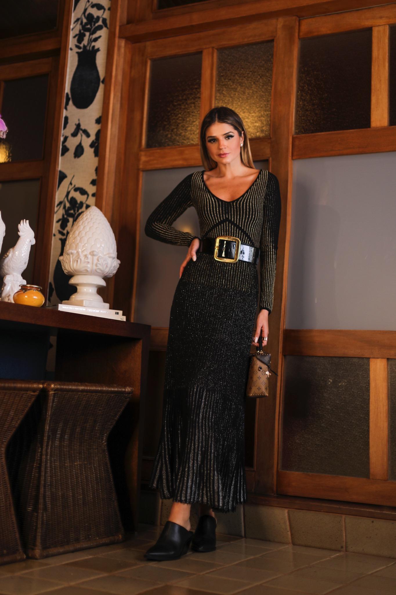 Thássia vestido preto galeria tricot